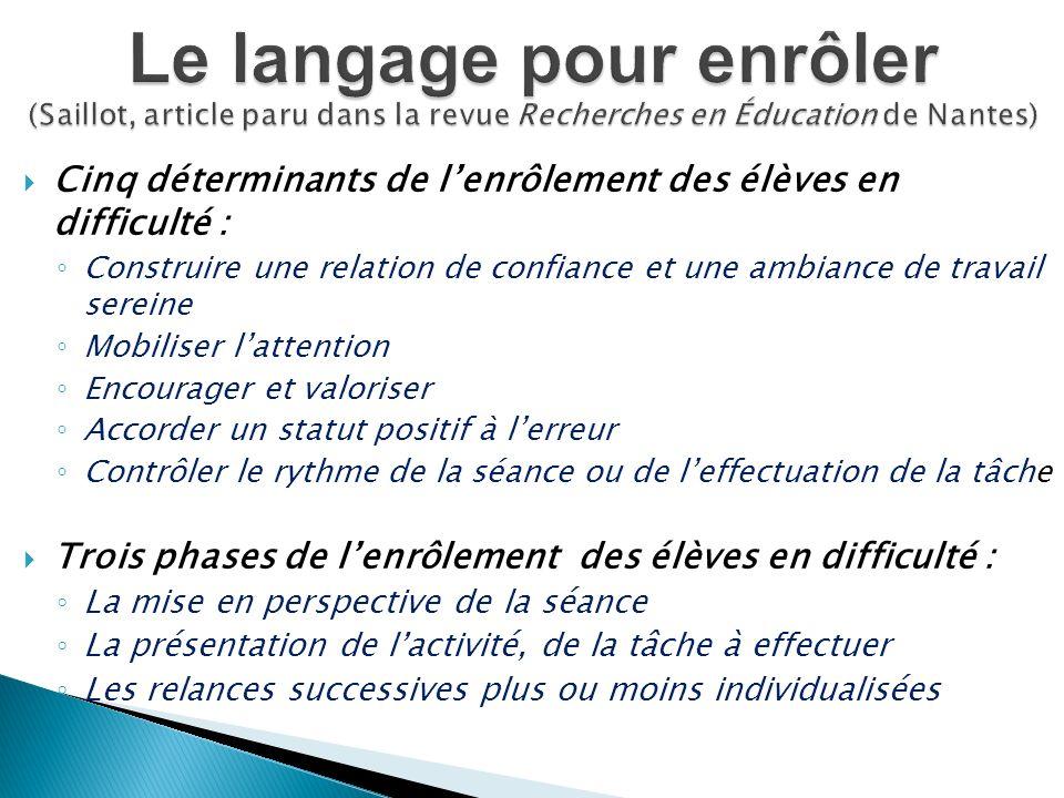 Le langage pour enrôler (Saillot, article paru dans la revue Recherches en Éducation de Nantes)