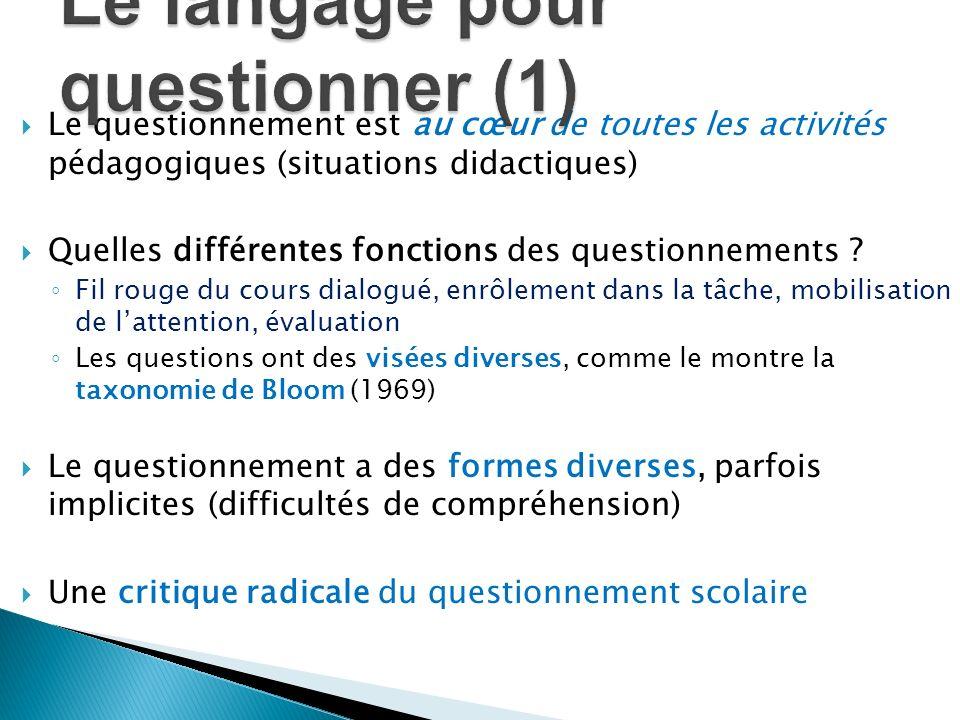Le langage pour questionner (1)