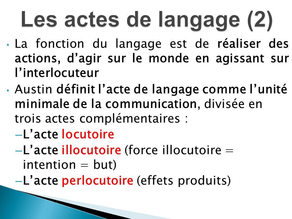 Les actes de langage (2) La fonction du langage est de réaliser des actions, d'agir sur le monde en agissant sur l'interlocuteur.