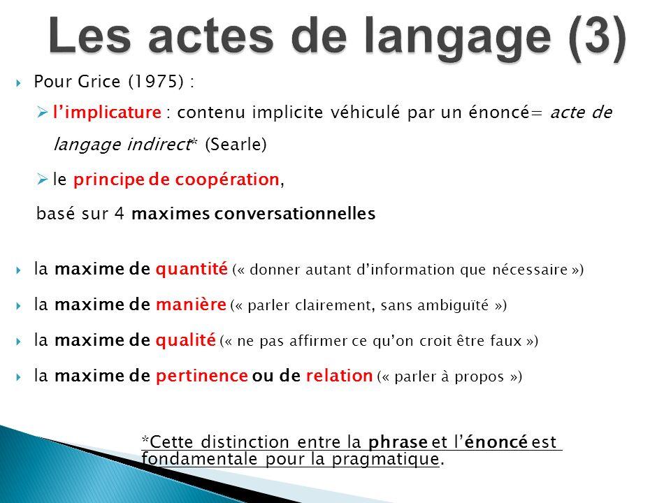 Les actes de langage (3) Pour Grice (1975) :