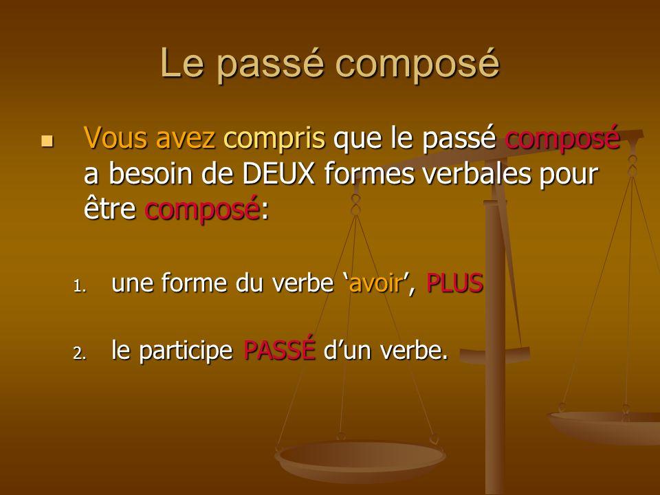 Le passé composé Vous avez compris que le passé composé a besoin de DEUX formes verbales pour être composé: