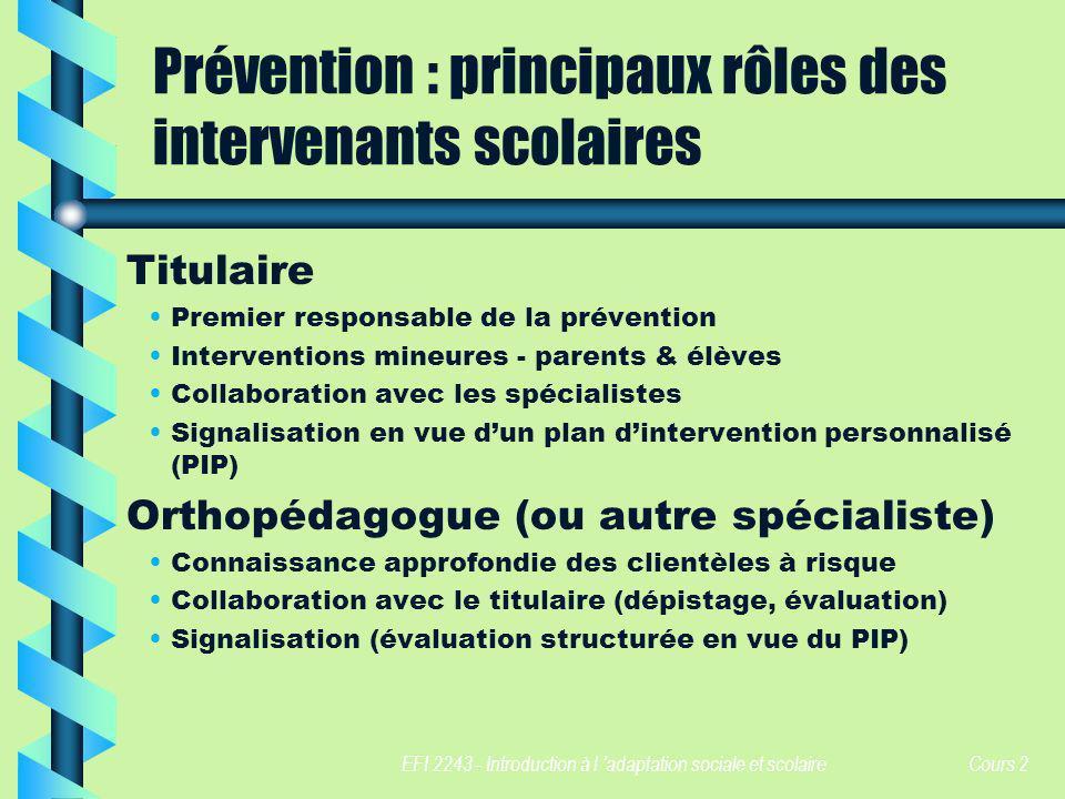 Prévention : principaux rôles des intervenants scolaires
