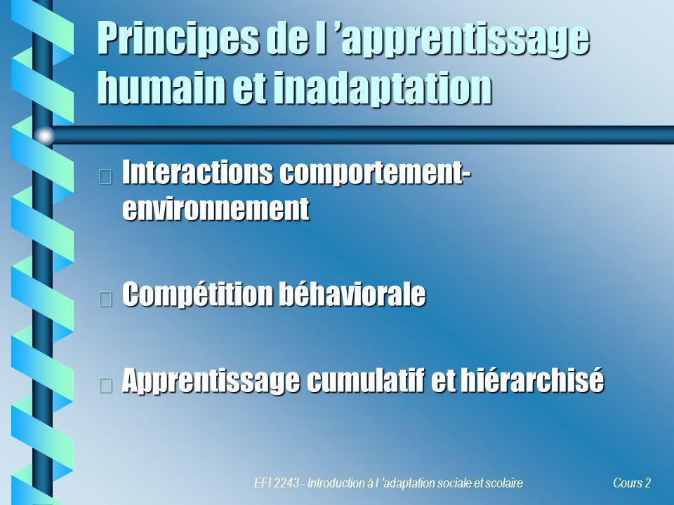 Principes de l 'apprentissage humain et inadaptation