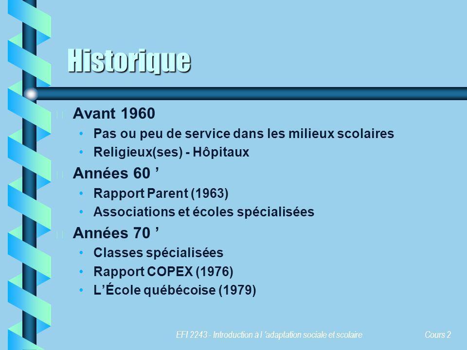 Historique Avant 1960 Années 60 ' Années 70 '