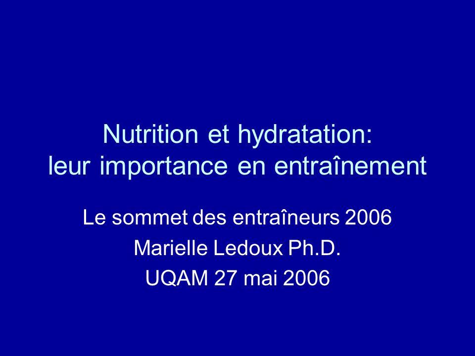 Nutrition et hydratation: leur importance en entraînement