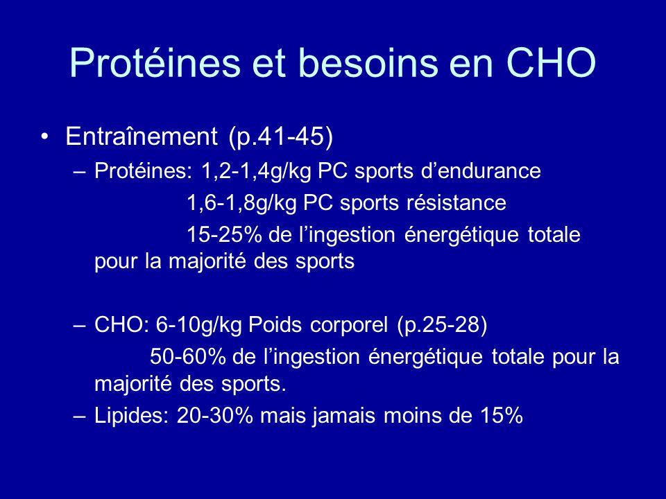 Protéines et besoins en CHO
