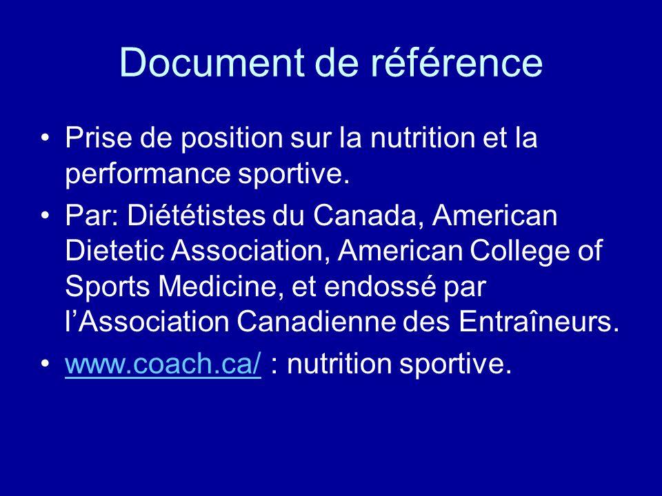 Document de référence Prise de position sur la nutrition et la performance sportive.