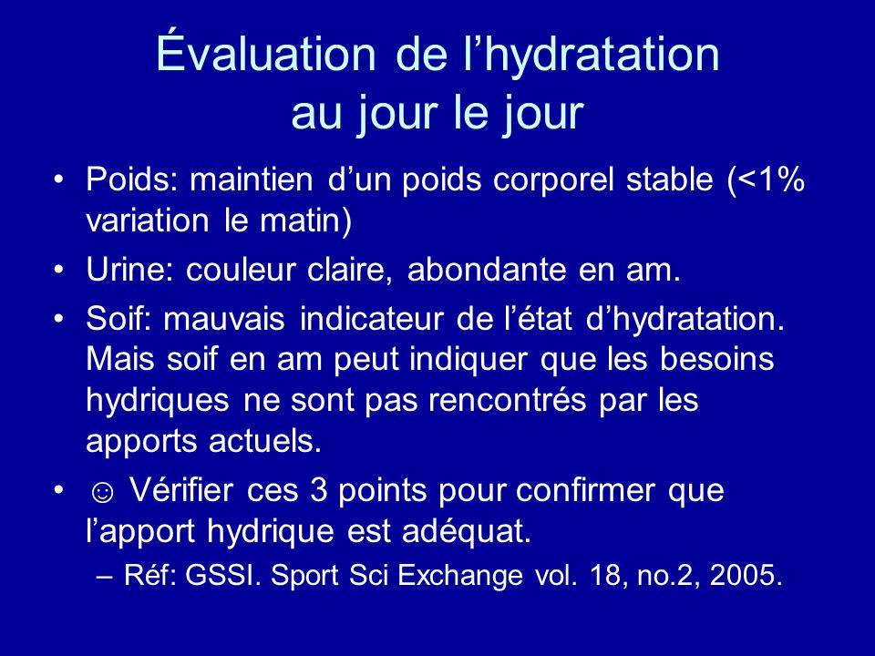 Évaluation de l'hydratation au jour le jour