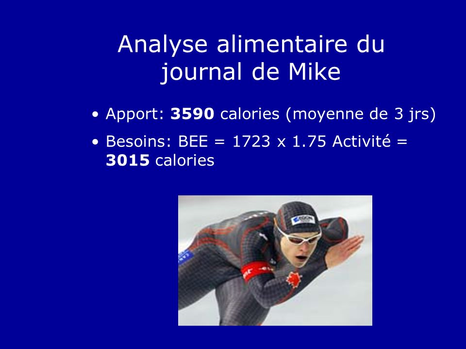Analyse alimentaire du journal de Mike