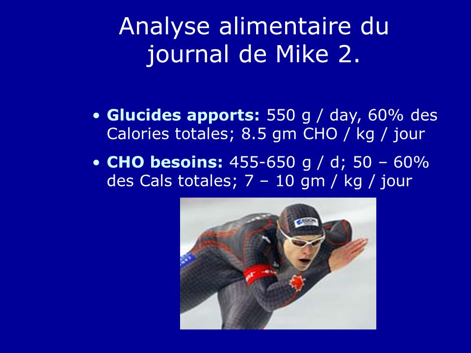 Analyse alimentaire du journal de Mike 2.