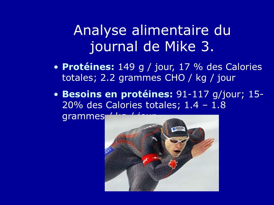 Analyse alimentaire du journal de Mike 3.