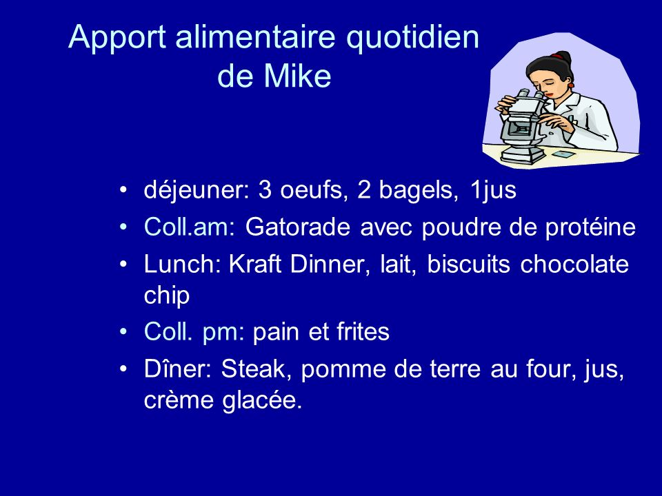 Apport alimentaire quotidien de Mike
