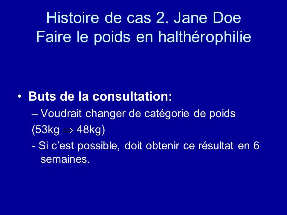 Histoire de cas 2. Jane Doe Faire le poids en halthérophilie