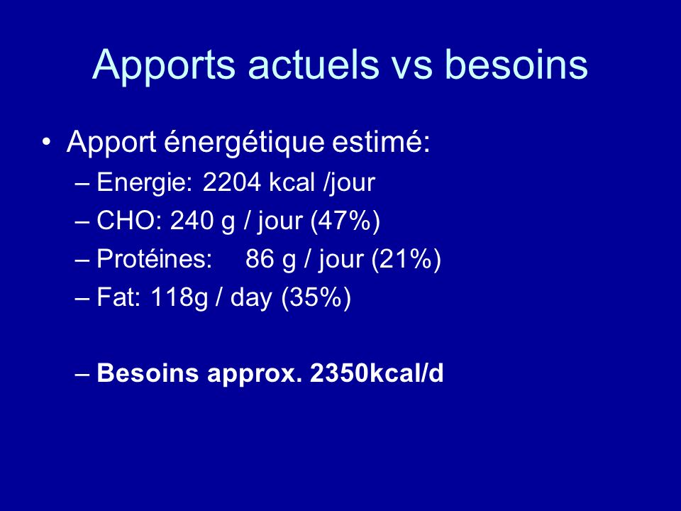 Apports actuels vs besoins