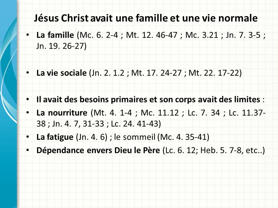 Jésus Christ avait une famille et une vie normale