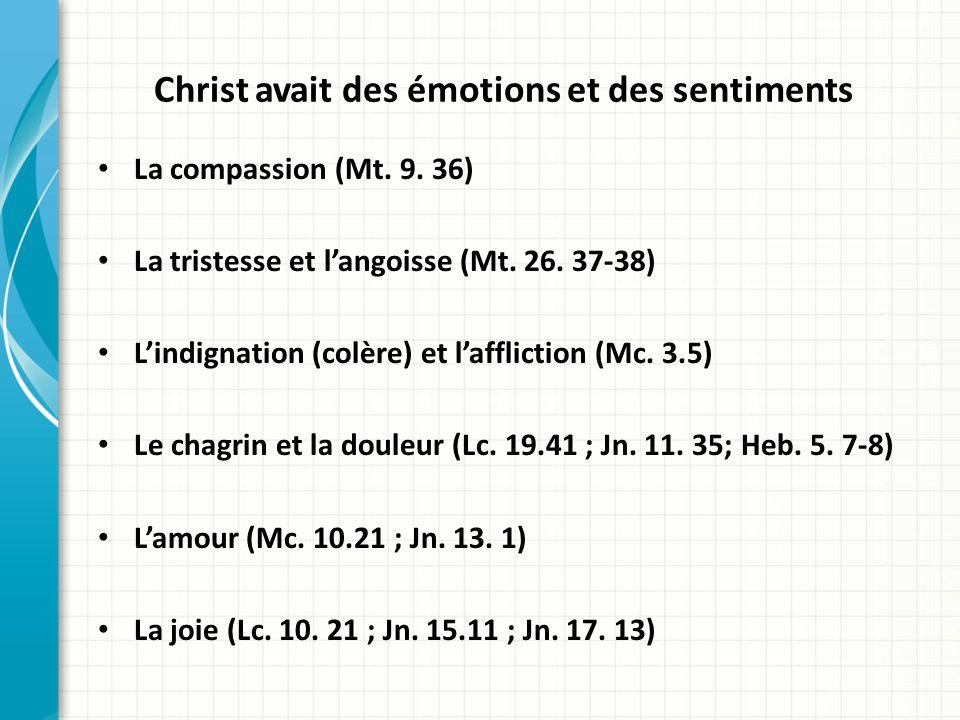 Christ avait des émotions et des sentiments