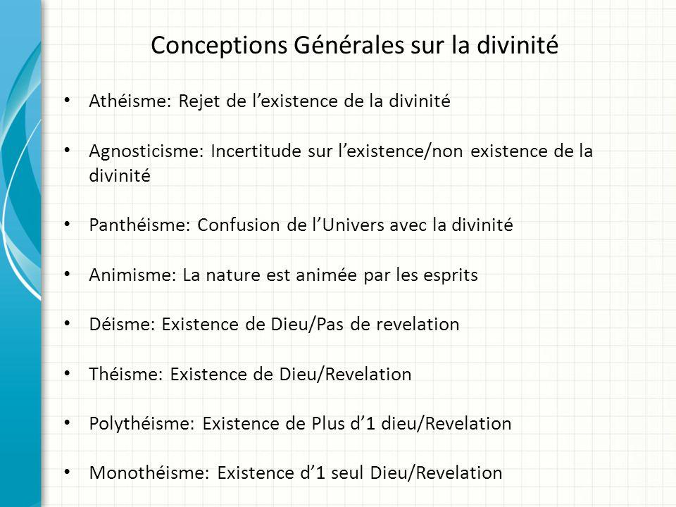 Conceptions Générales sur la divinité