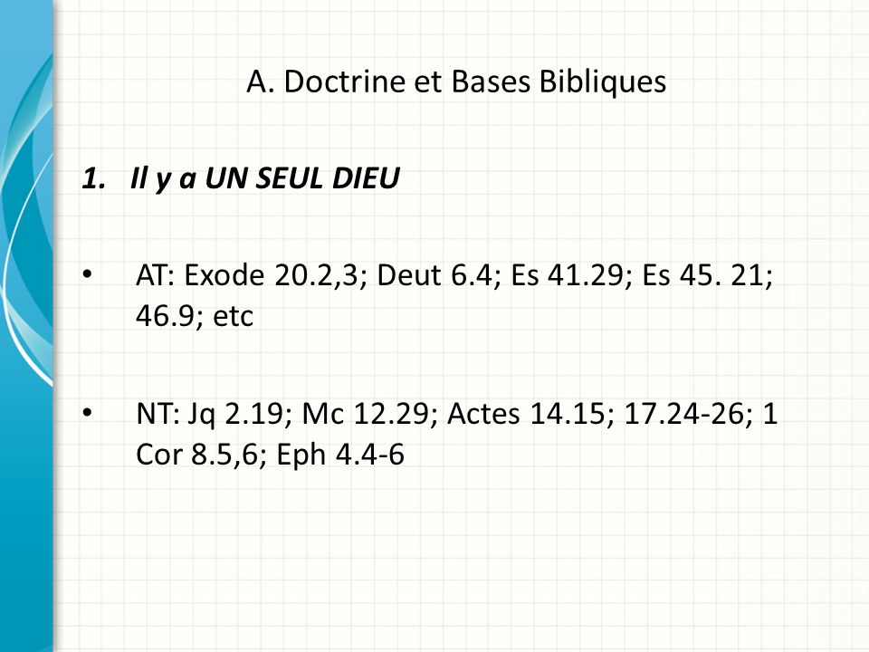 A. Doctrine et Bases Bibliques