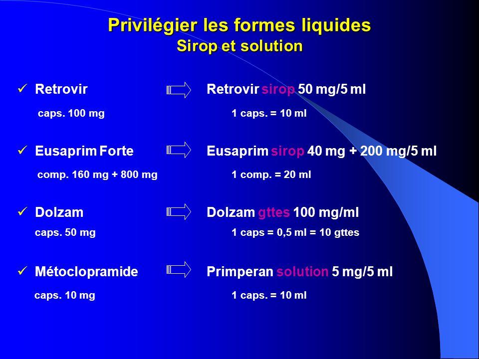 Privilégier les formes liquides Sirop et solution