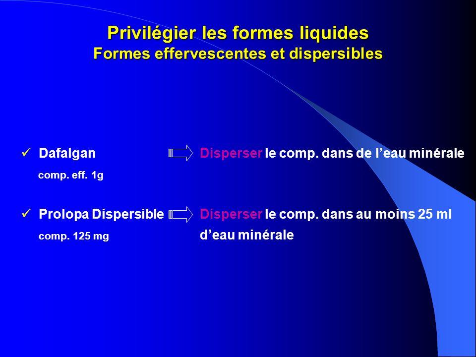 Privilégier les formes liquides Formes effervescentes et dispersibles