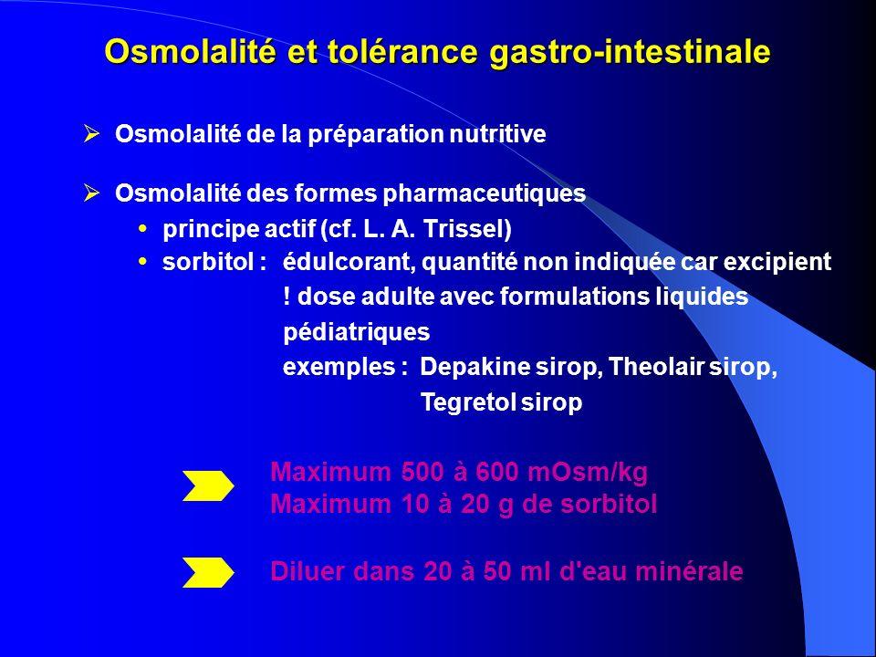 Osmolalité et tolérance gastro-intestinale