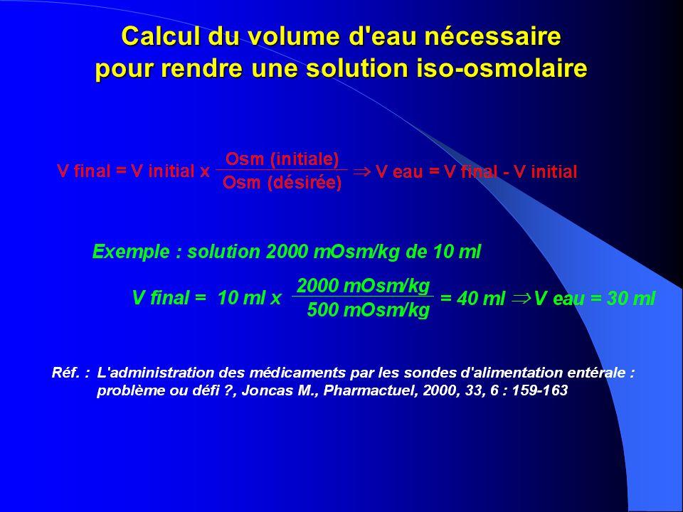 Calcul du volume d eau nécessaire pour rendre une solution iso-osmolaire