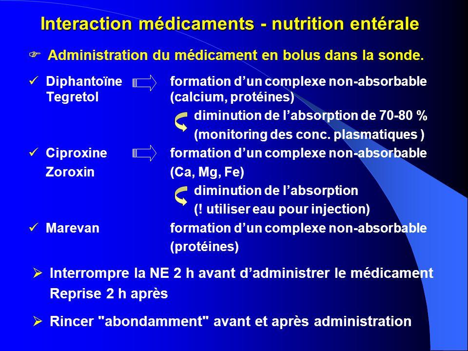 Interaction médicaments - nutrition entérale