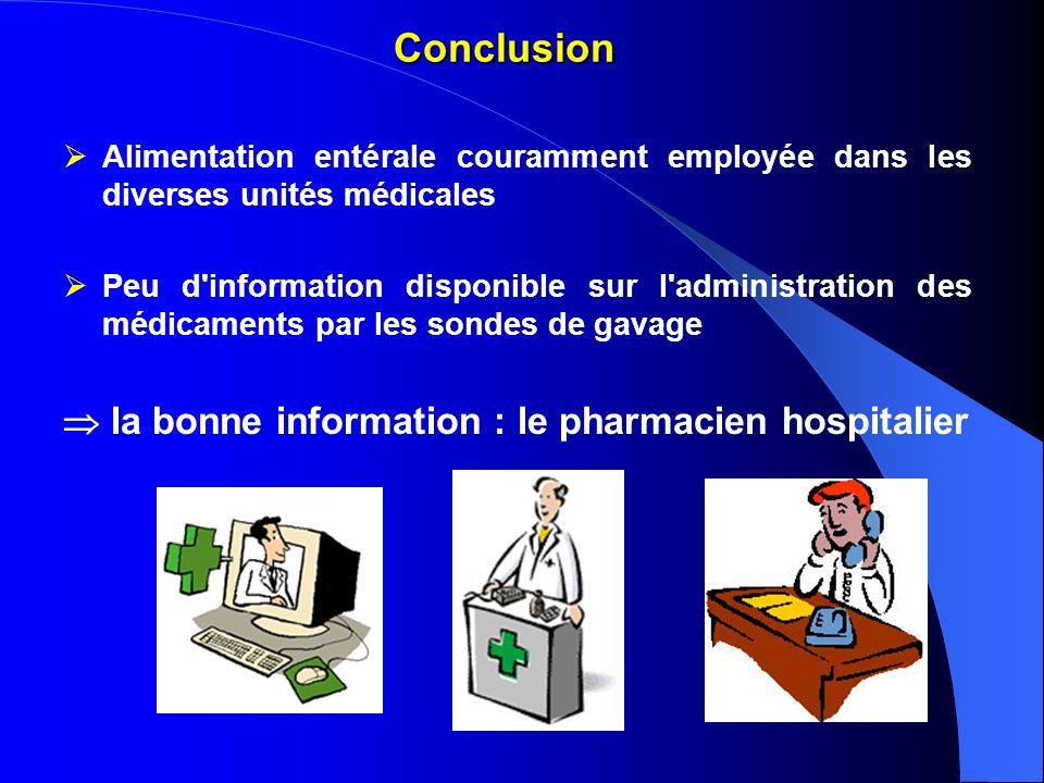Conclusion  la bonne information : le pharmacien hospitalier