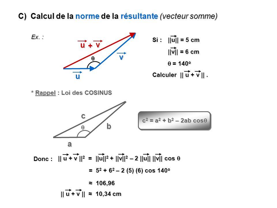 C) Calcul de la norme de la résultante (vecteur somme)