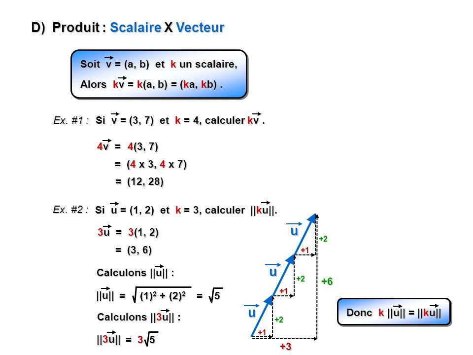 D) Produit : Scalaire X Vecteur