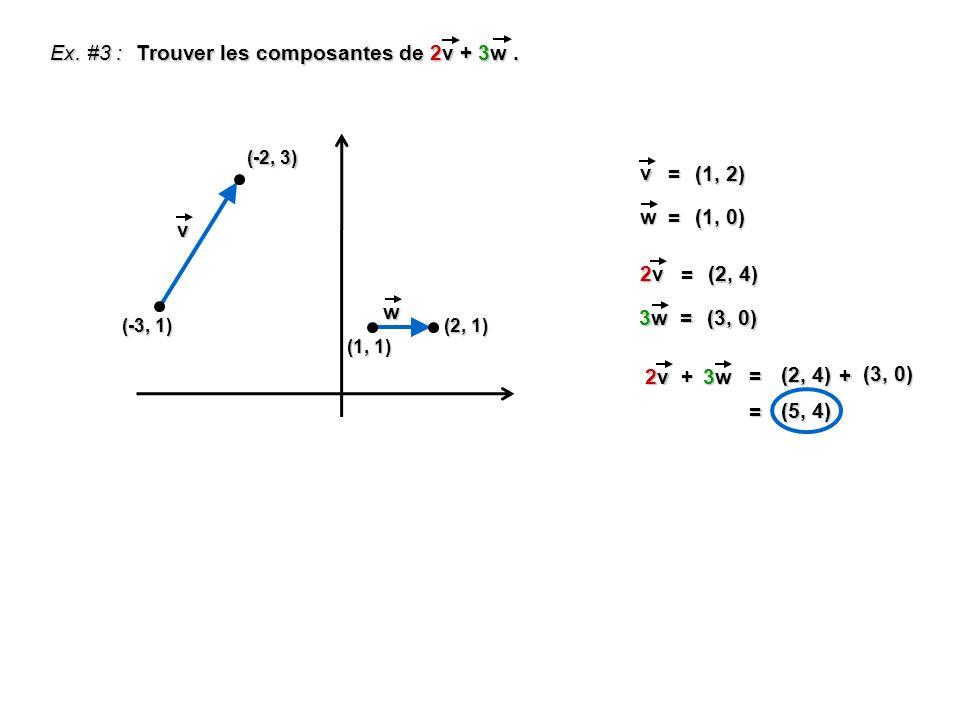 Trouver les composantes de 2v + 3w .