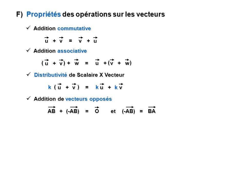 F) Propriétés des opérations sur les vecteurs