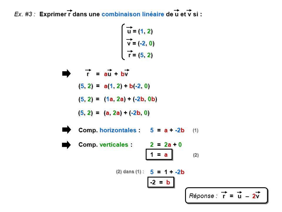 Exprimer r dans une combinaison linéaire de u et v si :