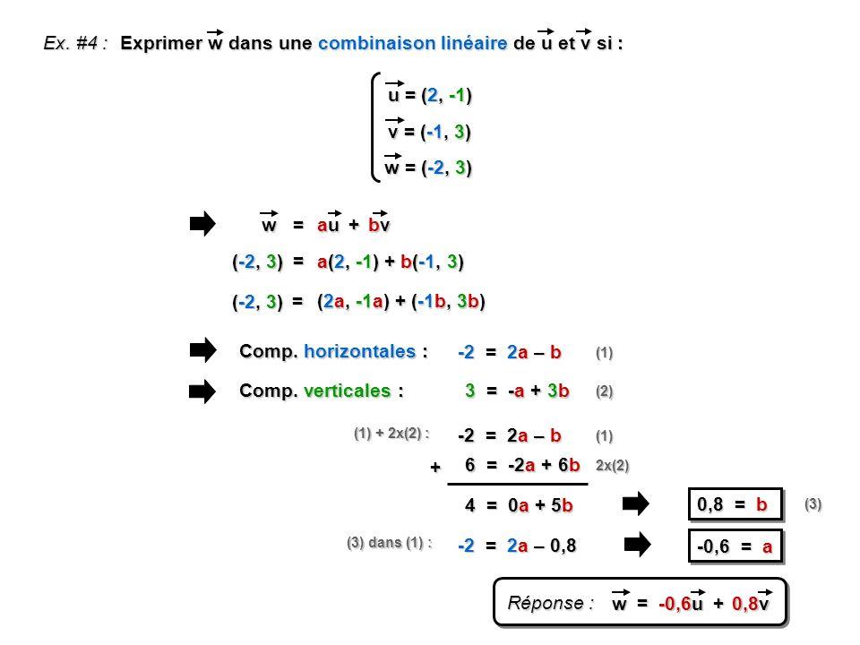 Exprimer w dans une combinaison linéaire de u et v si :
