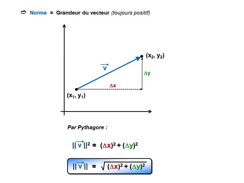  Norme = Grandeur du vecteur (toujours positif)