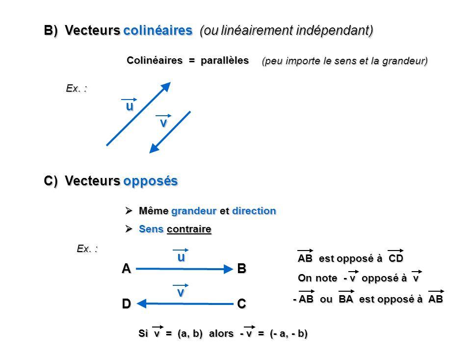 B) Vecteurs colinéaires (ou linéairement indépendant)