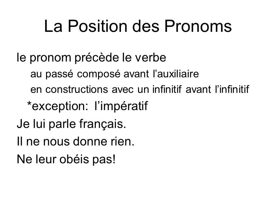 La Position des Pronoms