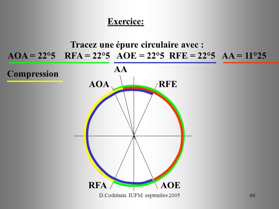 Tracez une épure circulaire avec :