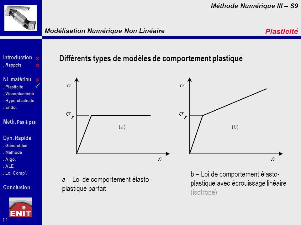 Différents types de modèles de comportement plastique