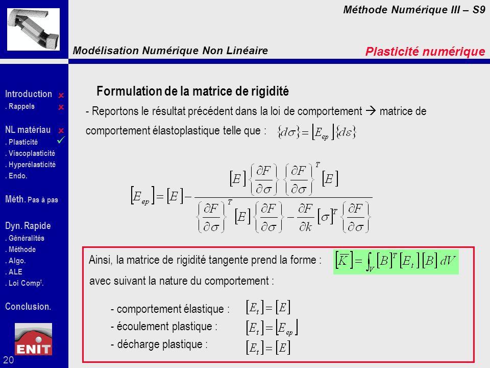 Formulation de la matrice de rigidité