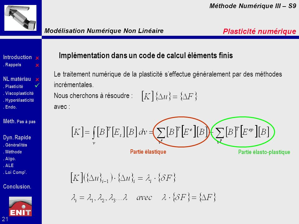 Implémentation dans un code de calcul éléments finis