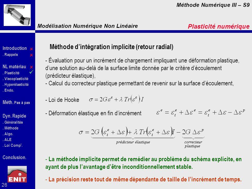 Méthode d'intégration implicite (retour radial)