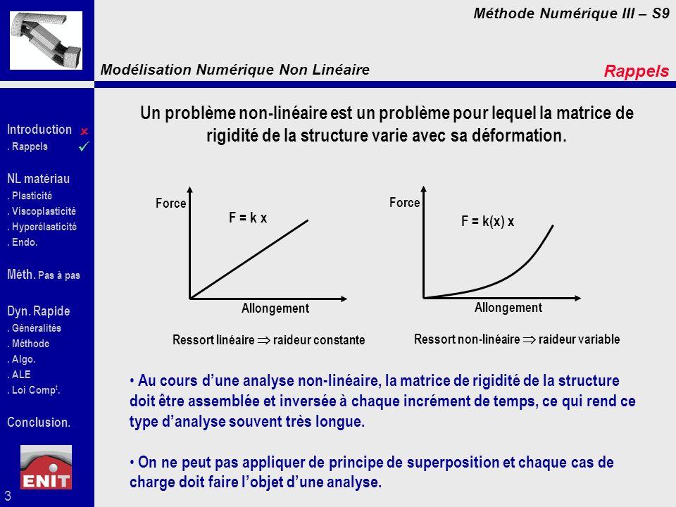 Rappels Un problème non-linéaire est un problème pour lequel la matrice de rigidité de la structure varie avec sa déformation.