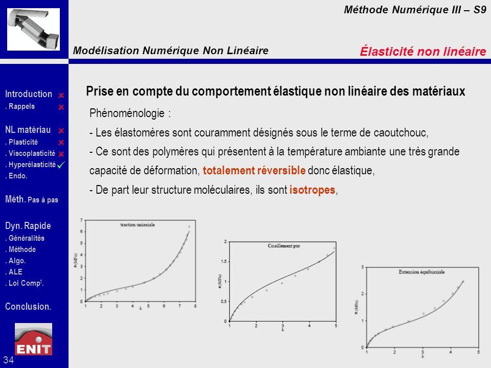Prise en compte du comportement élastique non linéaire des matériaux