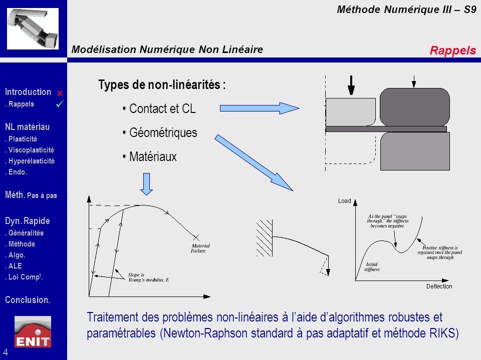 Types de non-linéarités : Contact et CL Géométriques Matériaux