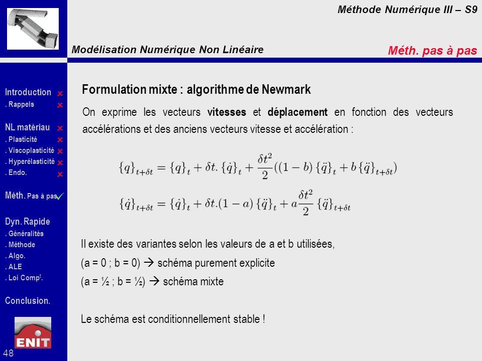 Formulation mixte : algorithme de Newmark
