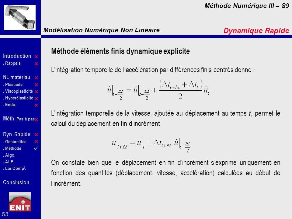 Méthode éléments finis dynamique explicite