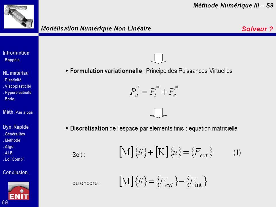Solveur Formulation variationnelle : Principe des Puissances Virtuelles. Discrétisation de l'espace par éléments finis : équation matricielle.