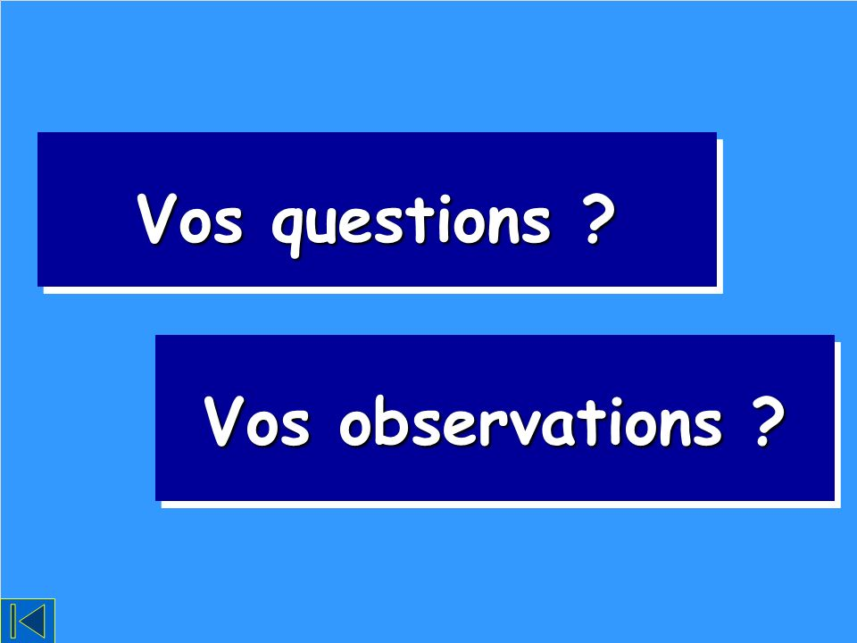 Vos questions Vos observations