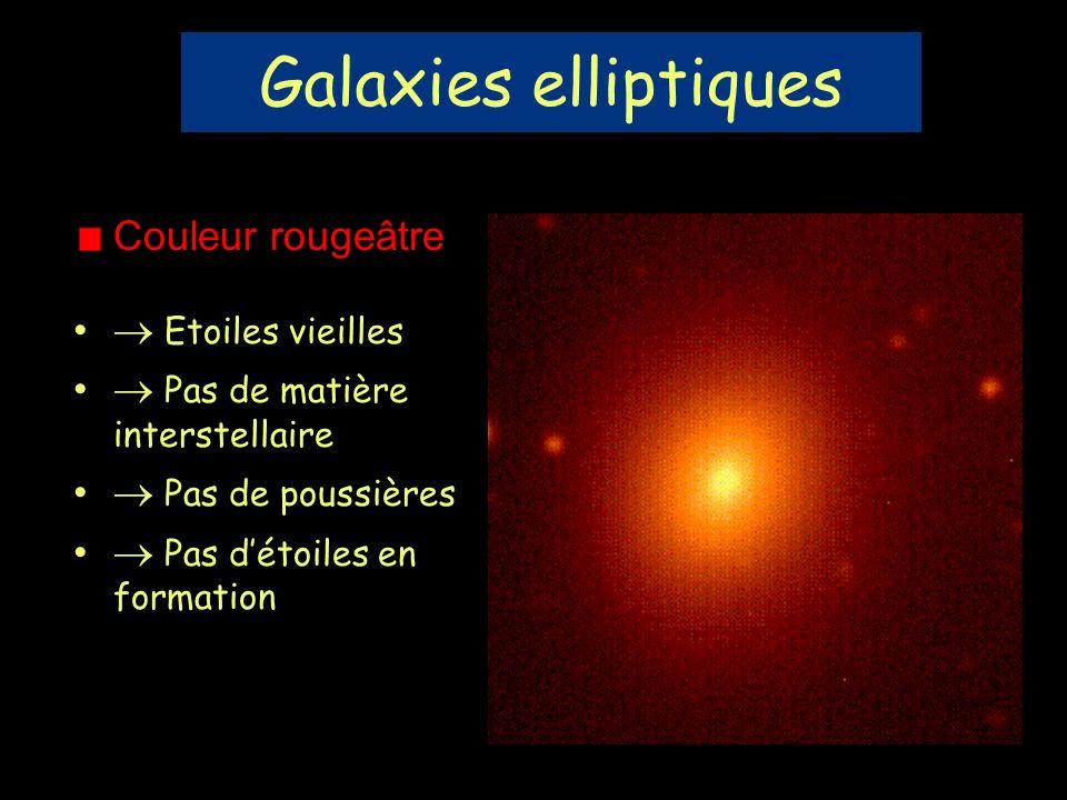 Galaxies elliptiques Couleur rougeâtre  Etoiles vieilles